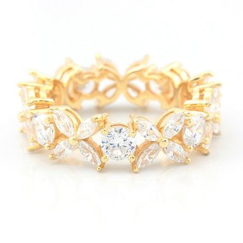 Solid .925 Sterling Silver w/18k Yellow Gold Overlay AAA Grade Italian CZ's Eternity Ring Size 8