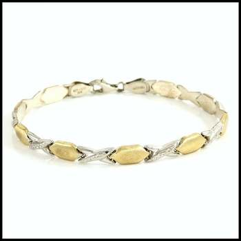 Solid .925 Sterling Silver & White and Yellow Gold Plated Bracelet
