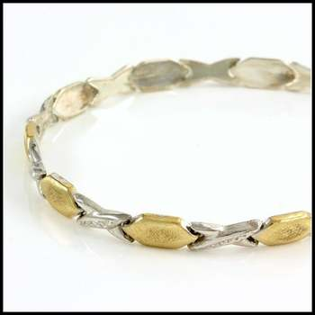 """Solid .925 Sterling Silver & White and Yellow Gold Plated Bracelet 7.5"""" Long"""