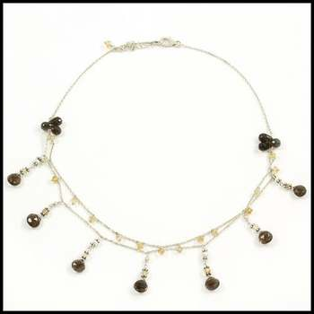 Solid .925 Sterling Silver & White Gold Overlay, Smoky&Yellow Quartz & Mother of Pearl Necklace