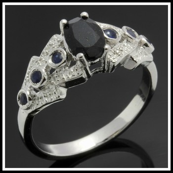 Solid .925 Sterling Silver & White Gold Plated, 0.01ctw Genuine Diamond & 0.60ctw Dyed Sapphire Ring sz 7