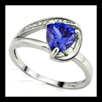Solid .925 Sterling Silver & White Gold Plated, 0.01ctw Genuine Diamond  & 1.30ctw Tanzanite Ring Size 7