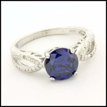 Solid .925 Sterling Silver & White Gold Plated, 0.01ctw Genuine Diamond & Blue Sapphire Ring Size 8