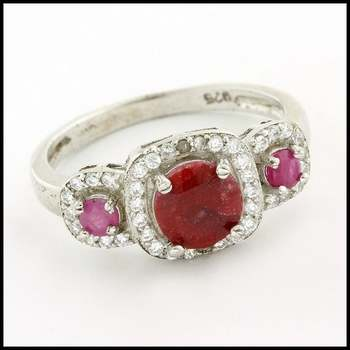 Solid .925 Sterling Silver & White Gold Plated, 0.01ctw Genuine Diamond & Dyed Ruby & White Sapphire Ring Size 7