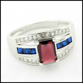 Solid .925 Sterling Silver & White Gold Plated, 0.01ctw Genuine Diamond & Ruby & Blue&White Sapphire Ring Size 7