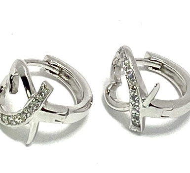 Solid .925 Sterling Silver & White Gold Plated, 0.15ctw AAA Grade CZ's Hoop Earrings