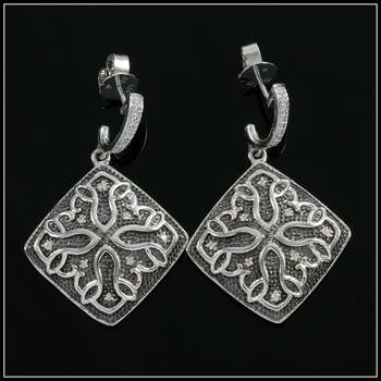 Solid .925 Sterling Silver & White Gold Plated, 0.22ctw AAA Grade CZ's Earrings
