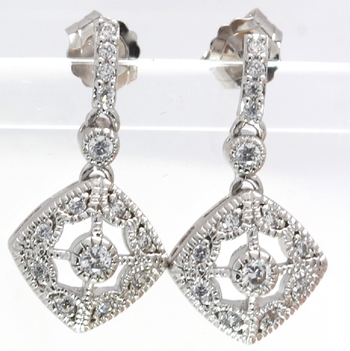 Solid .925 Sterling Silver & White Gold Plated, 0.25ctw AAA Grade CZ's Earrings