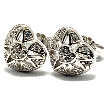 Solid .925 Sterling Silver & White Gold Plated, 0.25ctw AAA Grade CZ's Stud Earrings