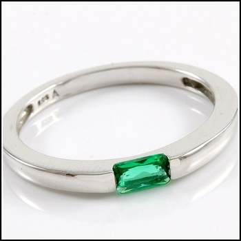 Solid .925 Sterling Silver & White Gold Plated,  0.25ctw Emerald  Ring Size 8