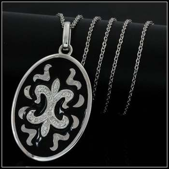Solid .925 Sterling Silver & White Gold Plated, 0.26ctw AAA Grade CZ's & Enamel Necklace