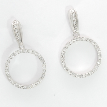 Solid .925 Sterling Silver & White Gold Plated, 0.35ctw AAA Grade CZ's Earrings