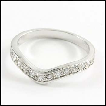 Solid .925 Sterling Silver & White Gold Plated, 0.3ctw AAA Grade CZ's Ring Size 8