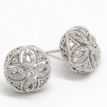 Solid .925 Sterling Silver & White Gold Plated, 0.40ctw AAA Grade CZ's Stud Earrings