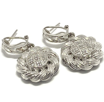 Solid .925 Sterling Silver & White Gold Plated, 0.48ctw AAA Grade CZ's Earrings