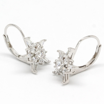 Solid .925 Sterling Silver & White Gold Plated, 0.50ctw AAA Grade CZ's Earrings