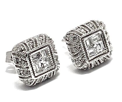 Solid .925 Sterling Silver & White Gold Plated, 0.50ctw AAA Grade CZ's Stud Earrings