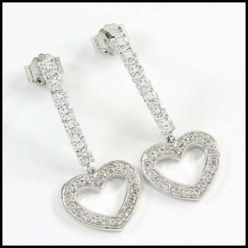 Solid .925 Sterling Silver & White Gold Plated, 0.60ctw AAA Grade CZ's Earrings