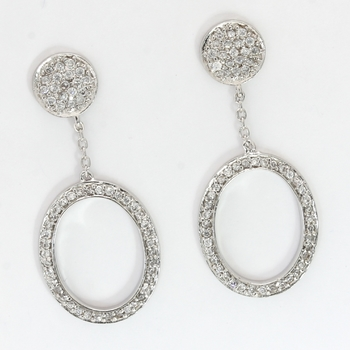 Solid .925 Sterling Silver & White Gold Plated, 0.75ctw AAA Grade CZ's Earrings
