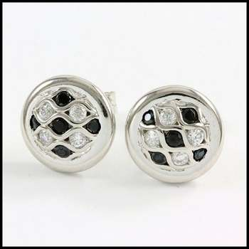 Solid .925 Sterling Silver & White Gold Plated, 0.75ctw AAA Grade CZ's & Onyx Stud Earrings