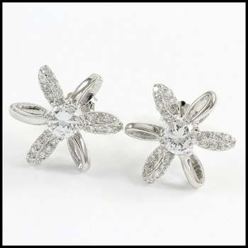 Solid .925 Sterling Silver & White Gold Plated, 0.75ctw AAA Grade CZ's Stud Earrings