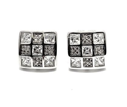 Solid .925 Sterling Silver & White Gold Plated, 1.00ctw AAA Grade CZ's Stud Earrings