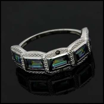Solid .925 Sterling Silver & White Gold Plated, 1.01ctw Genuine Diamond & Mystic Topaz Ring Sz 7.75