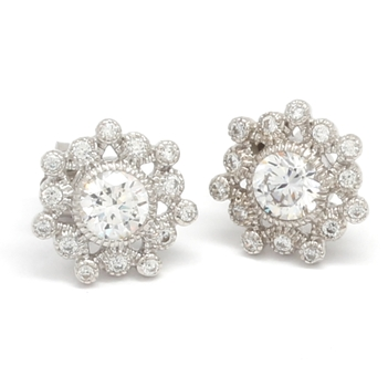 Solid .925 Sterling Silver & White Gold Plated, 1.10ctw AAA Grade CZ's Stud Earrings