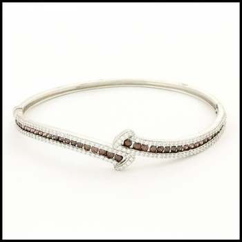 Solid .925 Sterling Silver & White Gold Plated, 1.25ctw Smoky Quartz & White Sapphire Bracelet