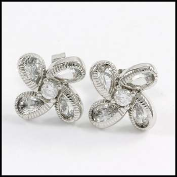 Solid .925 Sterling Silver & White Gold Plated, 1.50ctw AAA Grade CZ's Stud Earrings