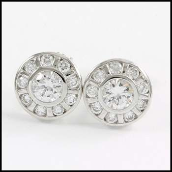 Solid .925 Sterling Silver & White Gold Plated, 1.75ctw AAA Grade CZ's Stud Earrings