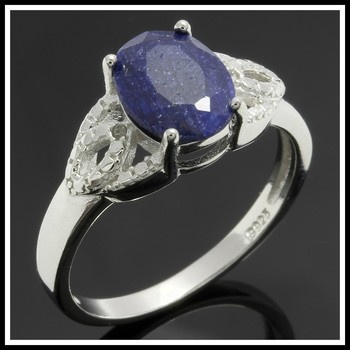 Solid .925 Sterling Silver & White Gold Plated, 2.12ctw Dyed Sapphire & Genuine Diamond Ring sz 7