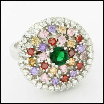 Solid .925 Sterling Silver & White Gold Plated, 2.35ctw Multi-Color Gemstones Ring Size 6