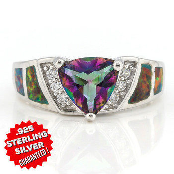 Solid .925 Sterling Silver & White Gold Plated,  2.35ctw Mystic Gems, Yellow Green Opal and White Sapphire Ring Size 8