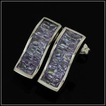 Solid .925 Sterling Silver & White Gold Plated, 2.4ctw Genuine Amethyst Earrings
