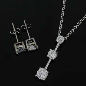 Solid .925 Sterling Silver & White Gold Plated, 2.8ctw (AAA) Grade CZ's Set of Necklace, Earrings