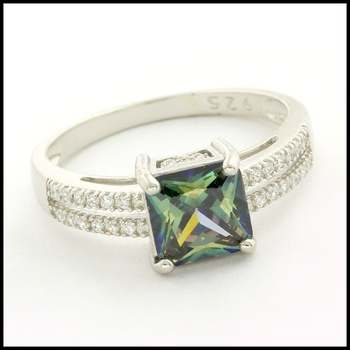 Solid .925 Sterling Silver & White Gold Plated,  3.3ctw Genuine Mystic Topaz & White Sapphire Ring Size 8