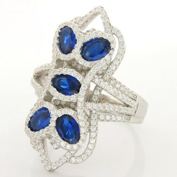 Solid .925 Sterling Silver & White Gold Plated, 4.75ctw Sapphire & (AAA Grade) CZ's Ring Size 6