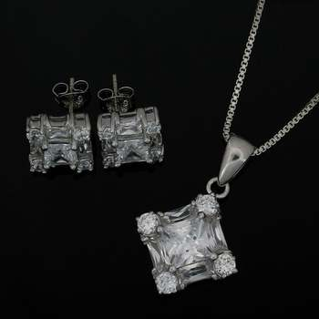 Solid .925 Sterling Silver & White Gold Plated, 5.50ctw (AAA) Grade CZ's Set of Necklace & Earrings