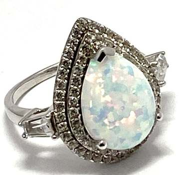 Solid .925 Sterling Silver & White Gold Plated, 7.75ctw Opal & Diamonique Ring Size 7