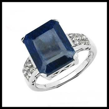 Solid .925 Sterling Silver & White Gold Plated, 8.05ctw Genuine Sapphire & White Topaz Ring Size 6