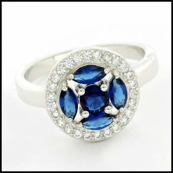 Solid .925 Sterling Silver & White Gold Plated, Blue & White Sapphire Ring Size 6.75