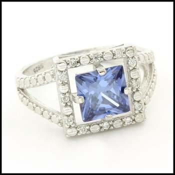 Solid .925 Sterling Silver & White Gold Plated,  Blue & White Sapphire Ring Size 7