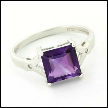 Solid .925 Sterling Silver & White Gold Plated, Genuine Amethyst & White Sapphire Ring Size 8