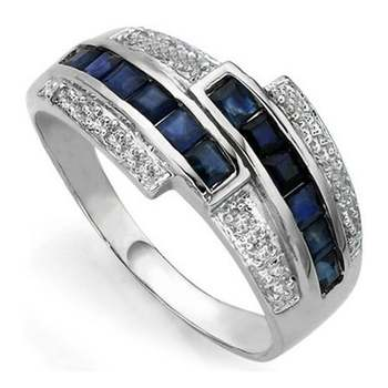 Solid .925 Sterling Silver & White Gold Plated, Genuine Blue Sapphire Ring Size 6