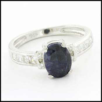 Solid .925 Sterling Silver & White Gold Plated, Genuine Diamond & Dyed Blue Sapphire & White Sapphire Ring Size 7