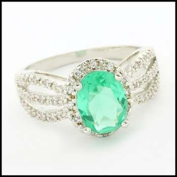 Solid .925 Sterling Silver & White Gold Plated, Green Tourmaline & White Sapphire Ring Size 7