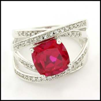Solid .925 Sterling Silver & White Gold Plated, Ruby & White Sapphire Ring Size 6.5