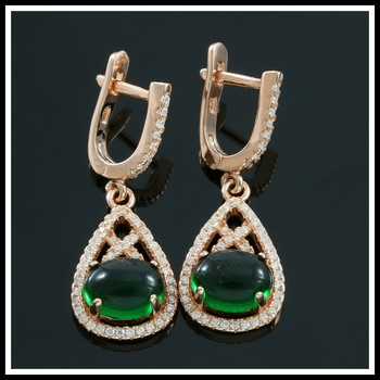 Solid .925 Sterling Silver, White Sapphire & Cabochon Emerald Earrings