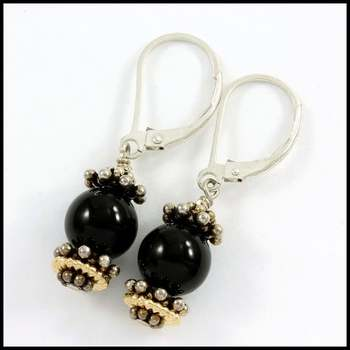 Solid .925 Sterling Silver & White&Yellow Gold Plated, Genuine 7mm Onyx Dangle Earrings